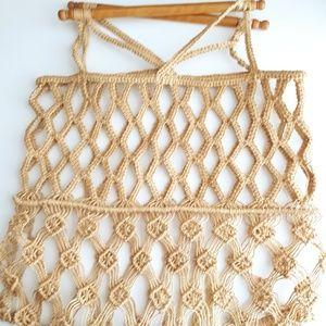 Vintage Jute Macrame & Wood Handle Handbag
